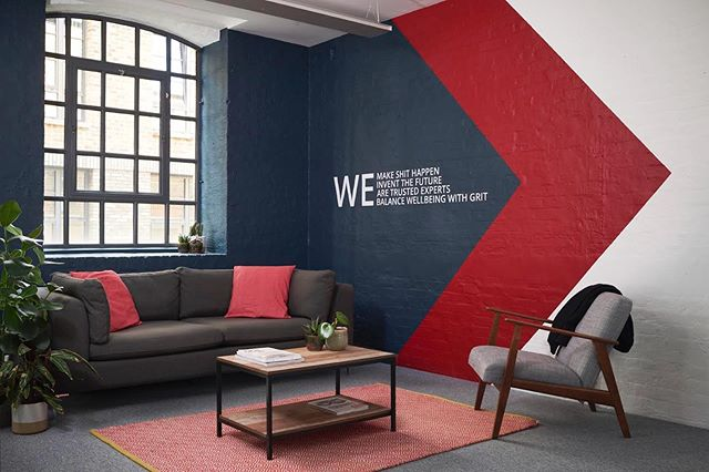 Workplace Interior by @lunarlunarstudio  Reception and breakout spaces are clearly delineated from working areas through a wall treatment that zones the area. For more on this project follow the link in our bio. Photography by @timjphoto Wall Treatment by @delamareandsons  Vinyl printing & install by @adelphigraphics