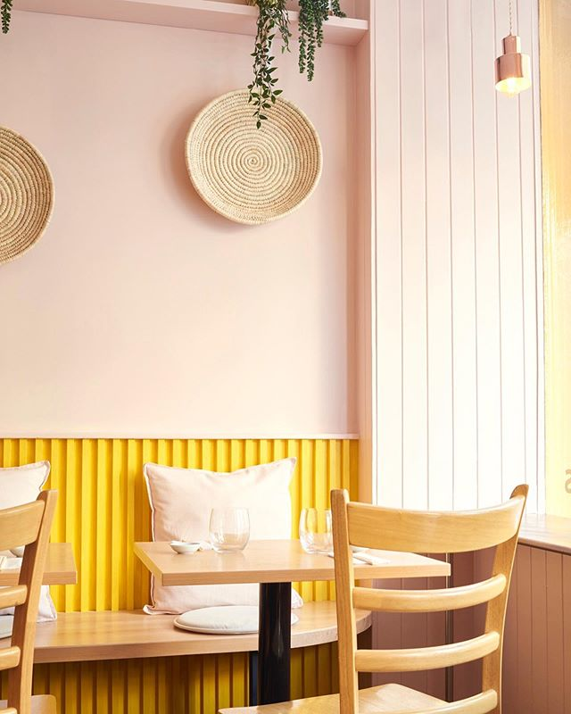 Restaurant Interior by @lunarlunarstudio  The materials palette and colour scheme for this interior was informed by the client's menu and inspiring food photography. For more on this project follow the link in our bio. Photography by @timjphoto