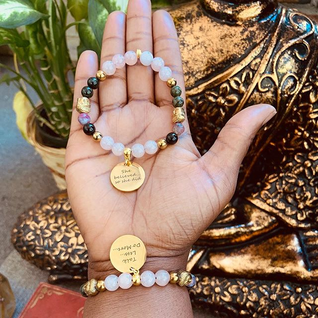 And...she still believes that she can This #poweraffirmation crystal bracelet was listed yesterday in the shop and I love this combination of Hematite Buddha and Hematite beads, pink Jade and pink tourmaline. These stones together give you the benefit of a protection, grounding, the attraction of abundance and love and deflection of negative energy.  Choose from a selection of quotes to make your bracelet extra special.  #goodvibes #menswear #motivation #fashion #womensfashion #women #handmade #crystals #shop #jade #pink #tourmaline #hematite #yogi