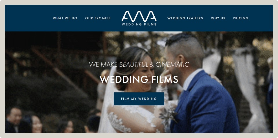 "AWA Wedding Films - ""Very fast delivery and very good taste in website design. I had just the barebones of a website with copy and it was lacking the"