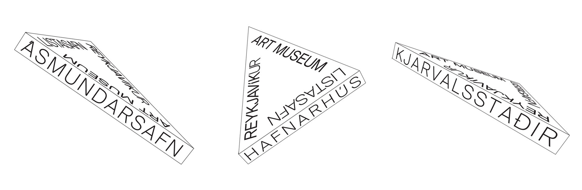 The triangular-shaped logo drew inspiration from the connection between the three houses, when connected on the map, the three museums form a very similar shape to the logo that we created.