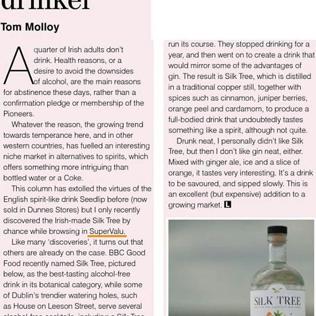 Nice mention in The Sunday Independent @thesundayindo at the weekend, thank you Tom Molloy🖒@supervalu_irl  #sundayindependent #alcoholfreespirit #alcoholfreeliving #soberlife #entrepreneurlife