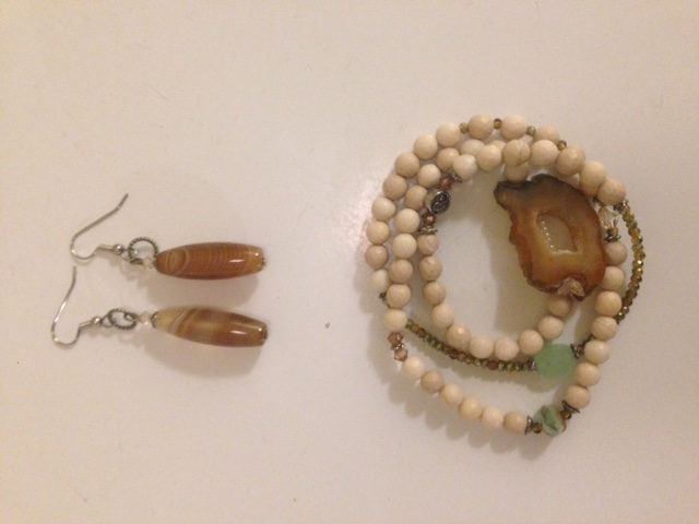 Botswana Agate wrap and matching earrings.JPG