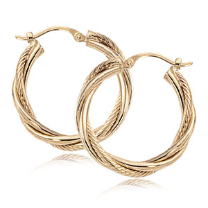 1.5x20 mm Triple Twist Hoop Earrings