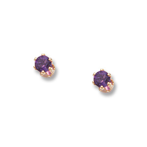 3 mm Amethyst Earrings