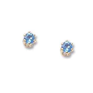 3 mm Swiss Blue Topaz Earrings