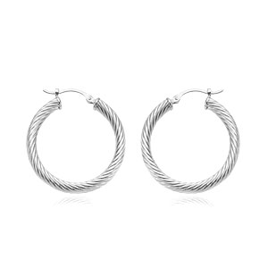 3x25 mm Twist Tube Hoop Earrings