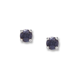 4 mm Sapphire White Gold Earrings