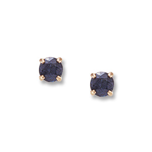 4 mm Sapphire Yellow Gold Earrings