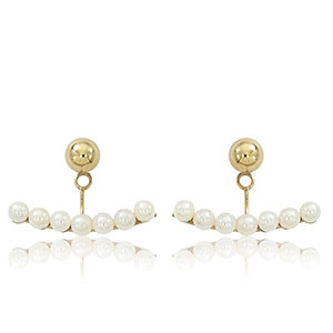 5 mm Ball with 3 mm Pearl Ear Jacket Earrings