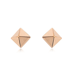 6 mm Rose Gold Pyramid Earrings