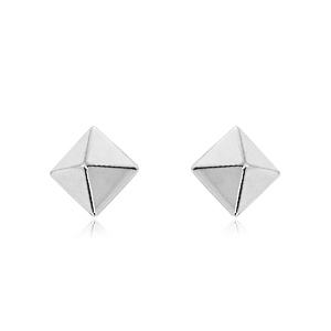 6 mm White Gold Pyramid Earrings