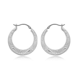 Embossed Flat Hoop Earrings