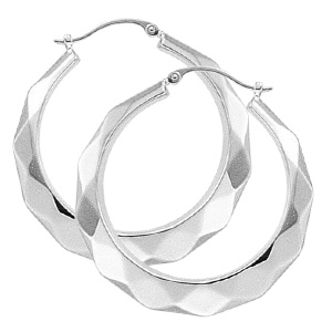 Facet Cut Hoop Earrings