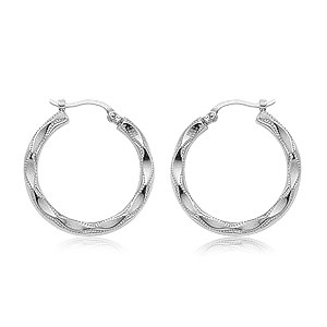 Large Embossed Hoop Earrings