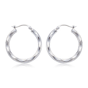 Large Embossed Shell Hoop Earrings