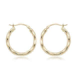 Medium Embossed Hoop Earrings