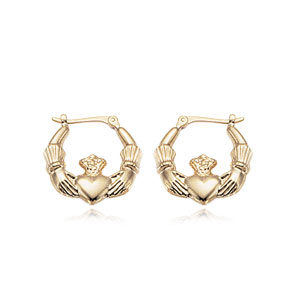 Small Claddagh Hoop Earrings