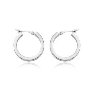 Square Tube White Gold Hoop Earrings