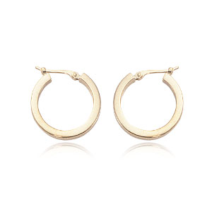 Square Tube Yellow Gold Hoop Earrings