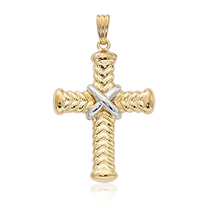 Two-Tone V Lined Cross Pendant