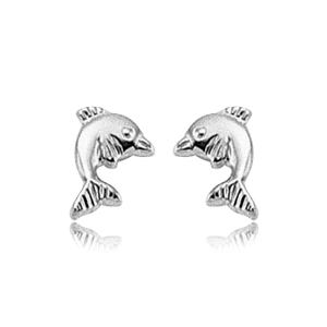 White Gold Dophin Earrings
