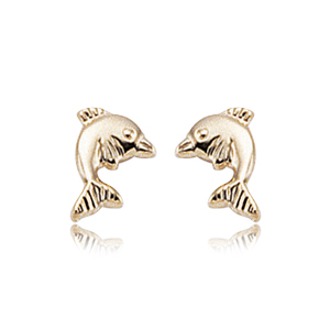 Yellow Gold Dolphin Earrings