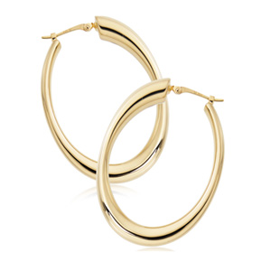 Gold Tapered Oval Hoop Earrings