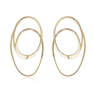 Open Double Oval Loop Hoop Earrings
