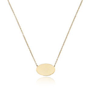 Oval Disc Pendant Necklace