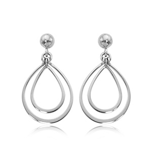 Sterling Silver Double Pear Shape Drop Earrings