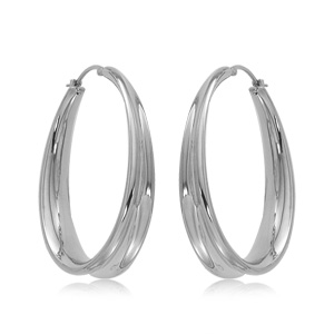 Sterling Silver Offset Hoop Earrings
