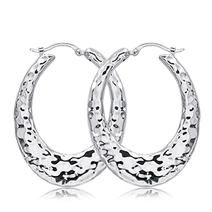 Sterling Silver Oval Hammered Hoop Earrings