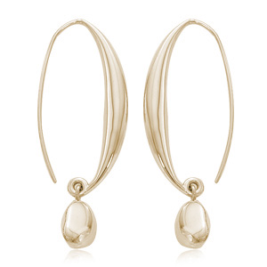 Vermeil Sweep with Bead Drop Earrings