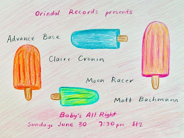 🚨last show is tonight in Brooklyn🚨 @orindalrecords summer spectacular with my favs 🚨 Set Times:  8:00 Matt Bachmann 8:45 Moon Racer 9:15 Claire Cronin 10:30 Advance Base