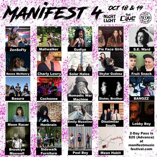 Manifest is upon us! Kicking off this rad fest Friday at the Nightlight 🧙🏻‍♀️ All ages show 🕸 Don't forget your windbreaker or other lightweight fall jacket 🌙