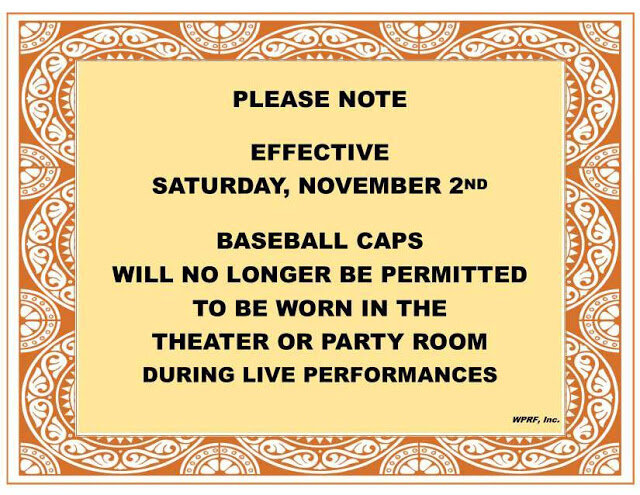 Committee 2019, Operations, Notice of NO baseball caps in Clubhouse, September 24, 2019.jpg