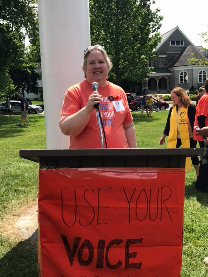 LexPride Co-Chair Valerie Overton (she/her) - Speaks at a Lexington Says #Enough event to work towards preventing gun violence.