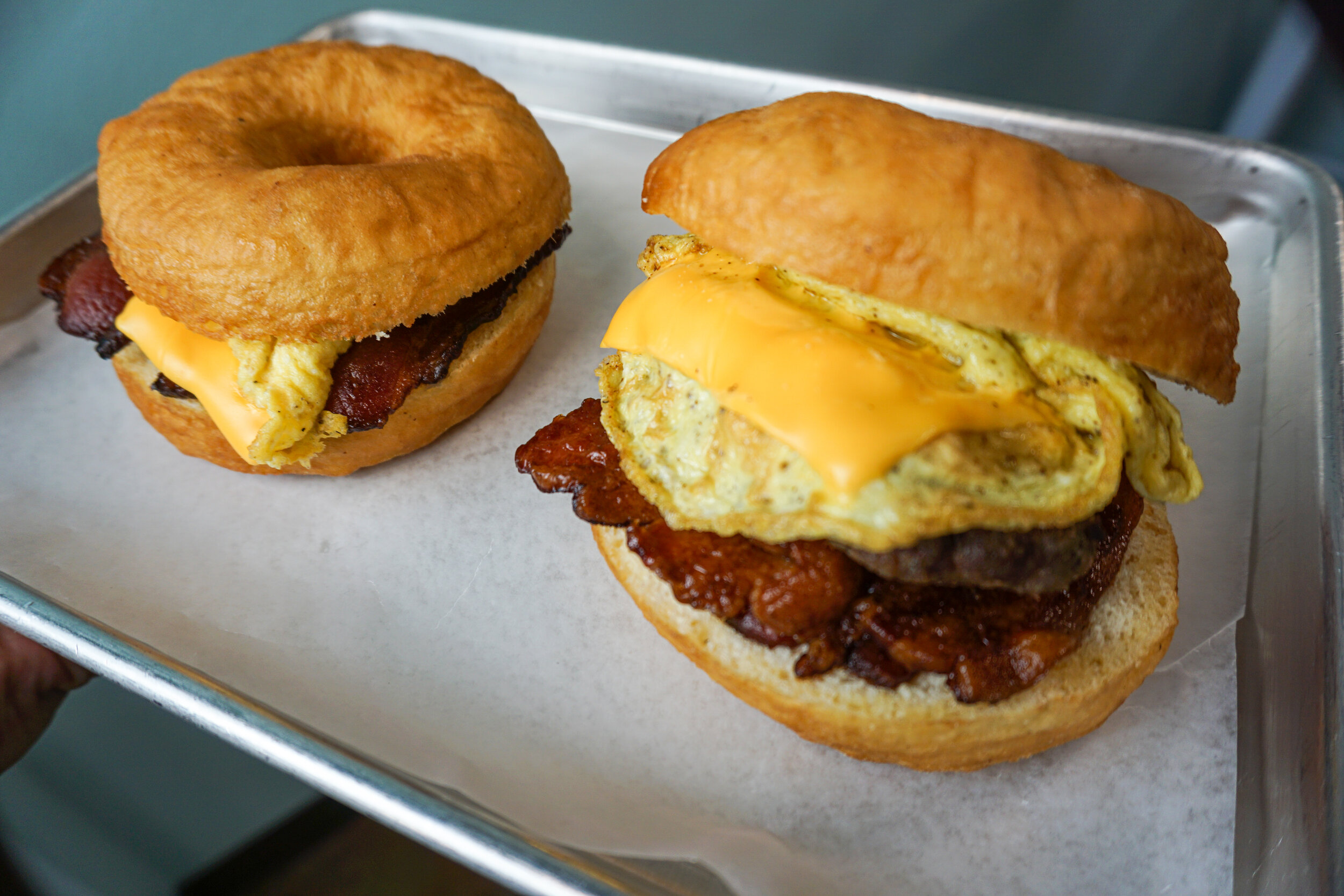 Donut Breakfast Sandwiches - Now available Friday - Sunday and made to order!!
