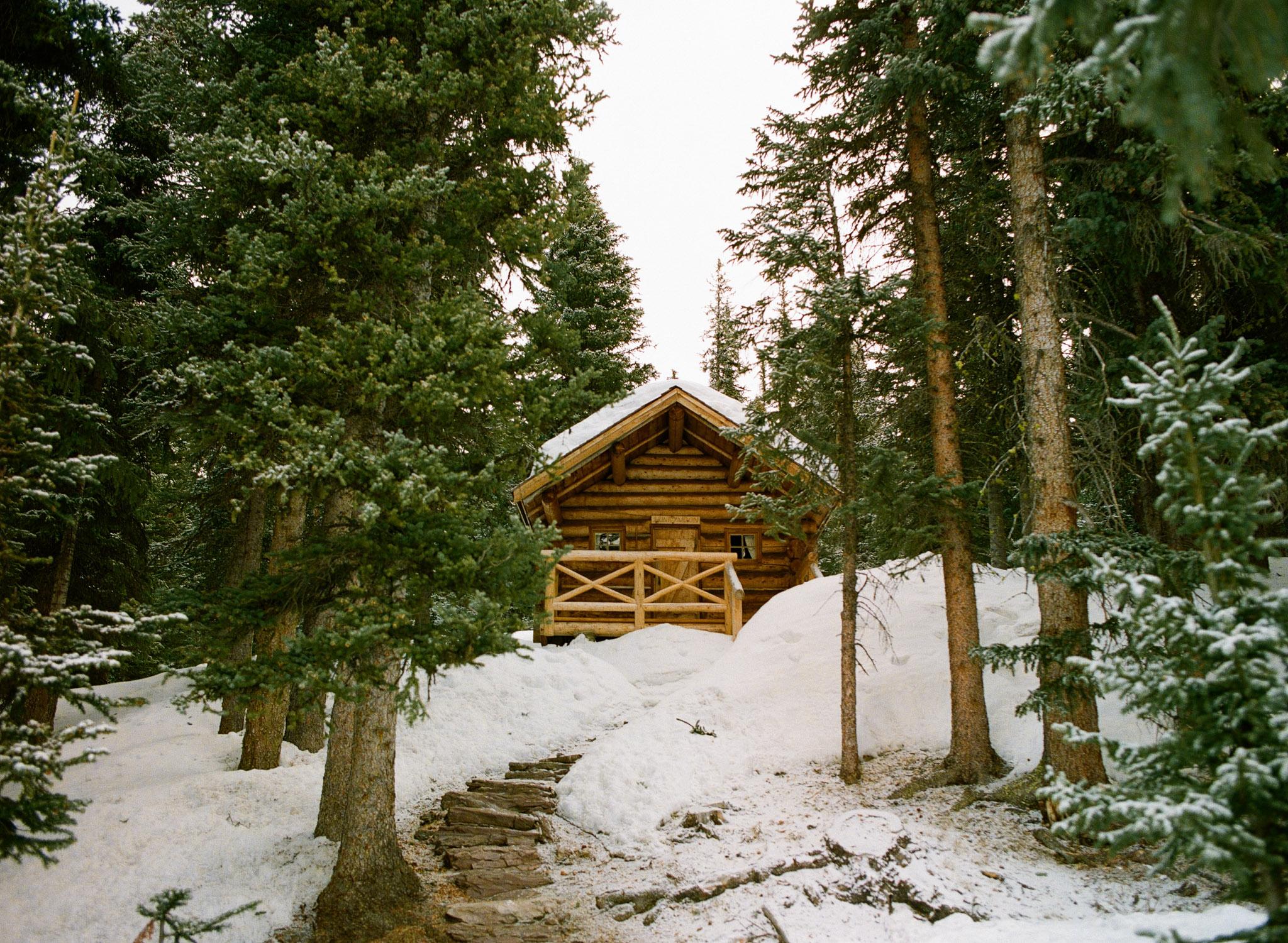 The Honeymoon Cabin at Skoki Lodge. // Portra 800