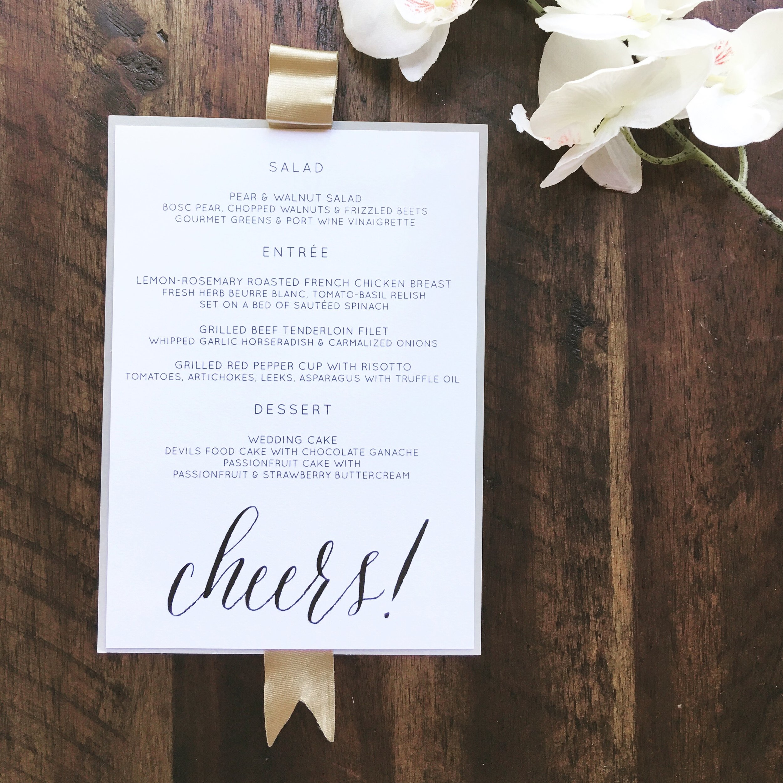 Wedding Menu The Paperie Co