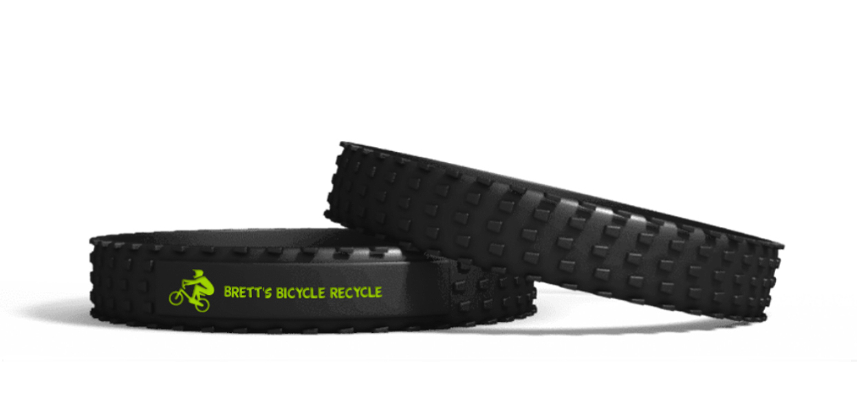 Show your Support! - We're selling our cool, new custom rubber tire tread wristbands to spread the word about what Brett's Bicycle Recycle does in our Huntington community. We have a limited amount left so they will only be available at our events.Suggested donation of $10 per wristband.