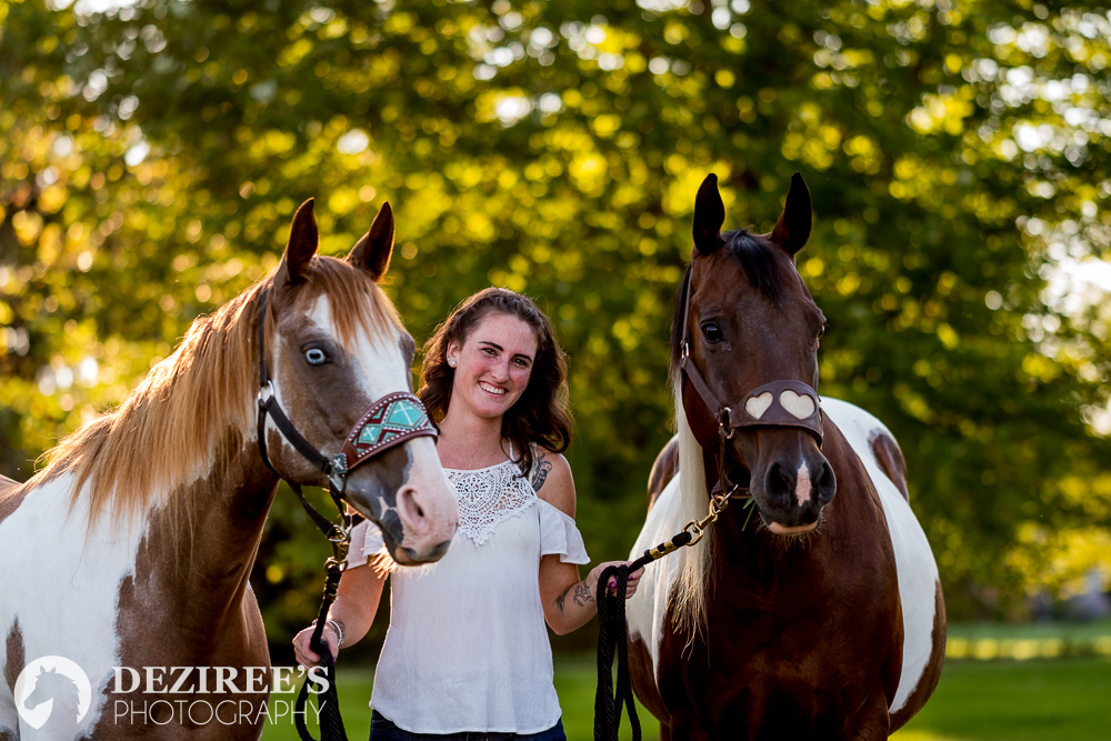 Hannah - Deziree exceeded my session's expectations! I was one of the people she chose for a free photoshoot in August of 2018, and she photographed my two horses and myself. She had many great ideas, worked with the landscape amazingly, and she was extremely patient and innovative as well! I did not feel rushed through the session, and I had a lot of fun working with her as well. It's clear that Deziree is extremely knowledgeable about what she does and she even brought treats for my horses which, of course, came in handy! I would pay to have another shoot done with her, and I'd highly recommend her to anyone that is looking to have fun getting photos taken with or without their horses in all types of settings. Thank you again, Deziree!