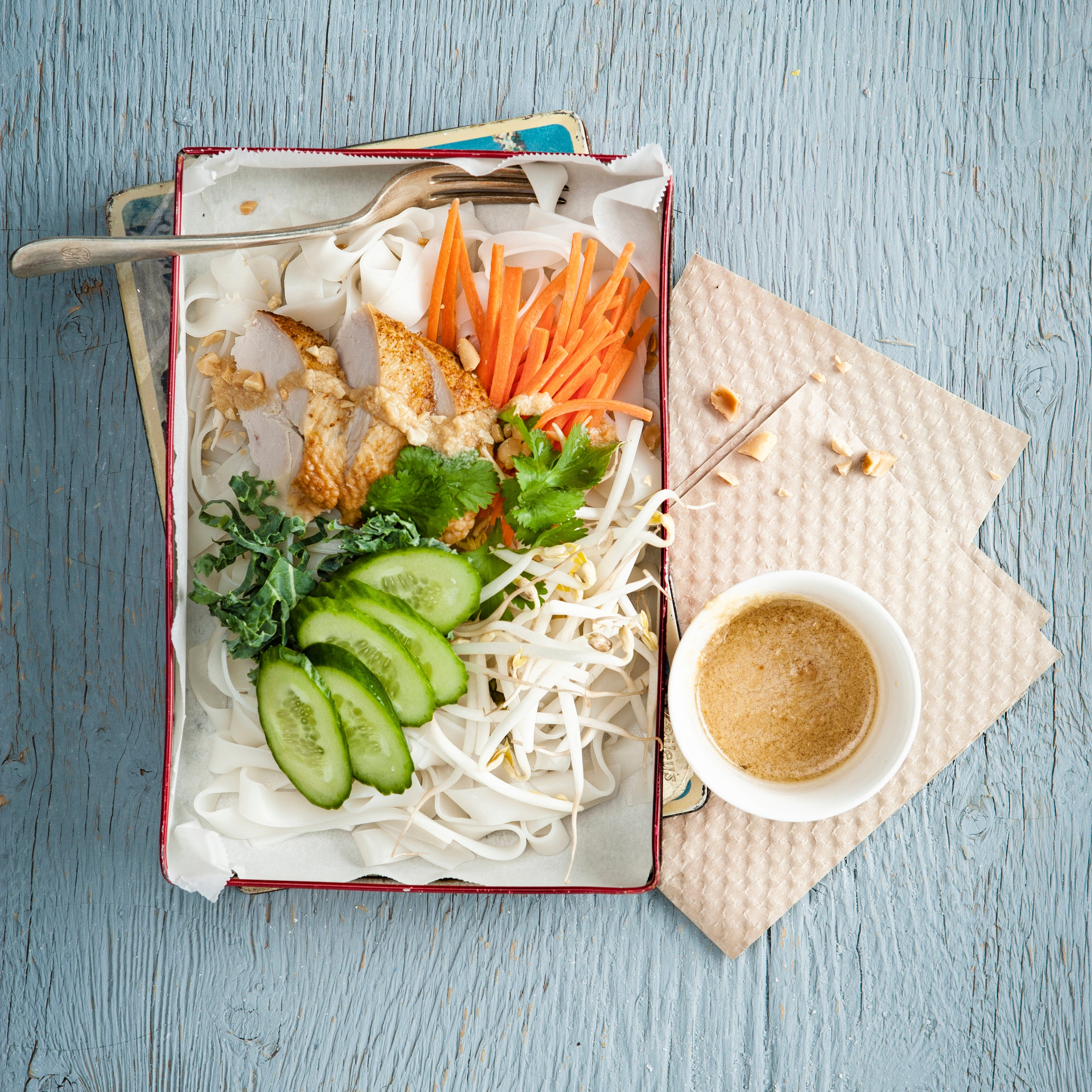 Rice noodle salad with roasted chicken, fresh vegetables and peanut vinaigrette.jpg