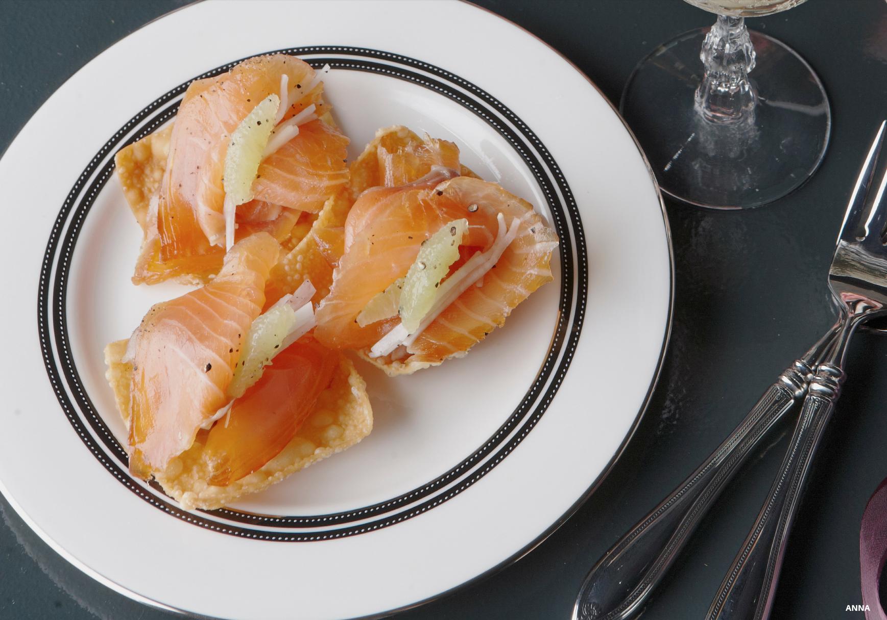 Chef Scott Bagshaw's sake-cured salmon with wonton and daikon.jpg