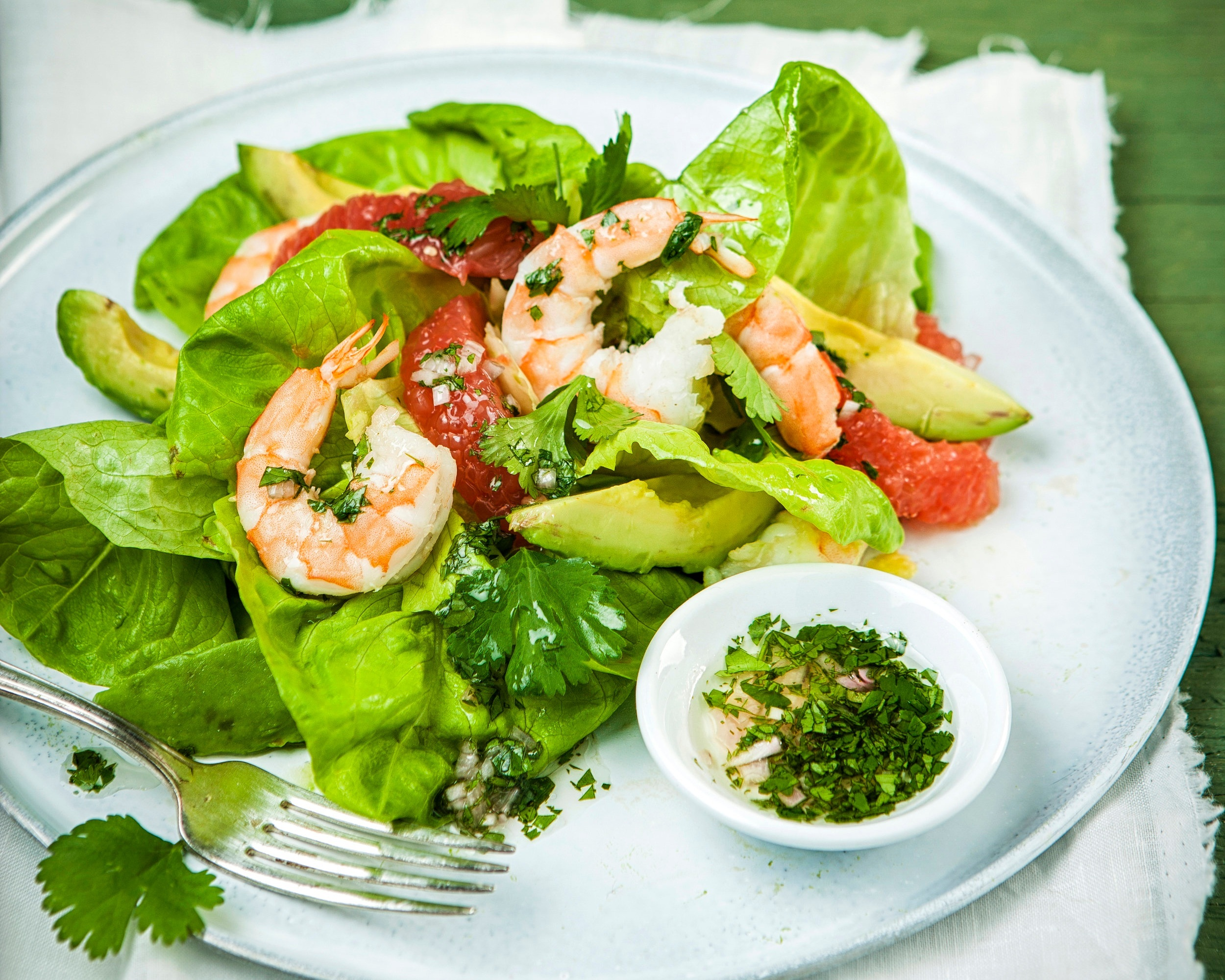 Shrimp and avocado salad with cilantro vinaigrette