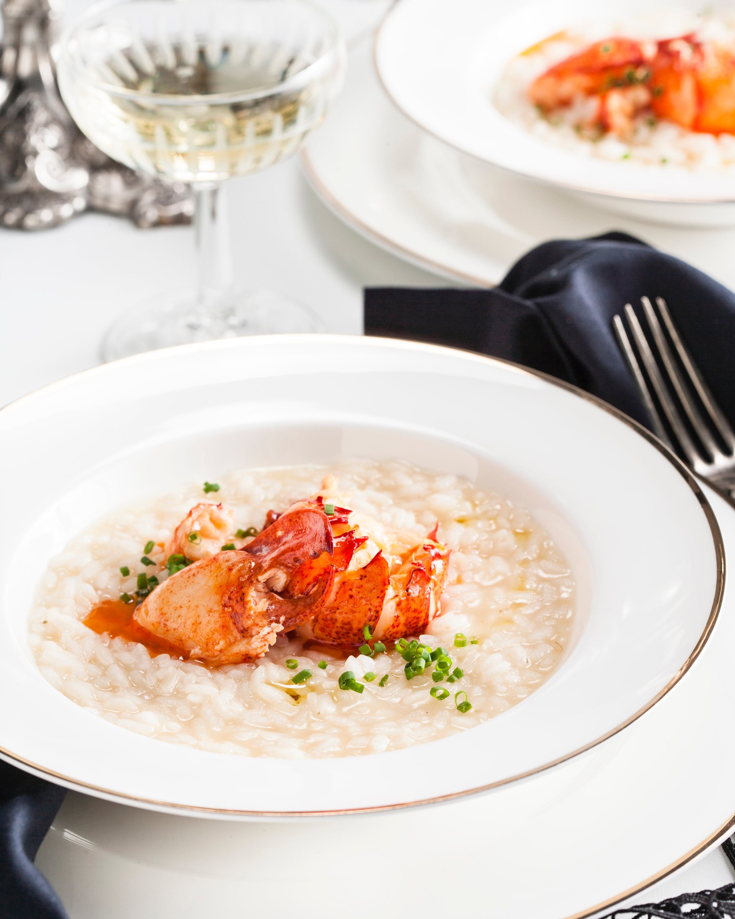 Truffle risotto with steamed lobster.jpg