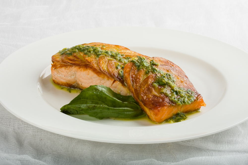 Potato crusted salmon with lemon basil butter