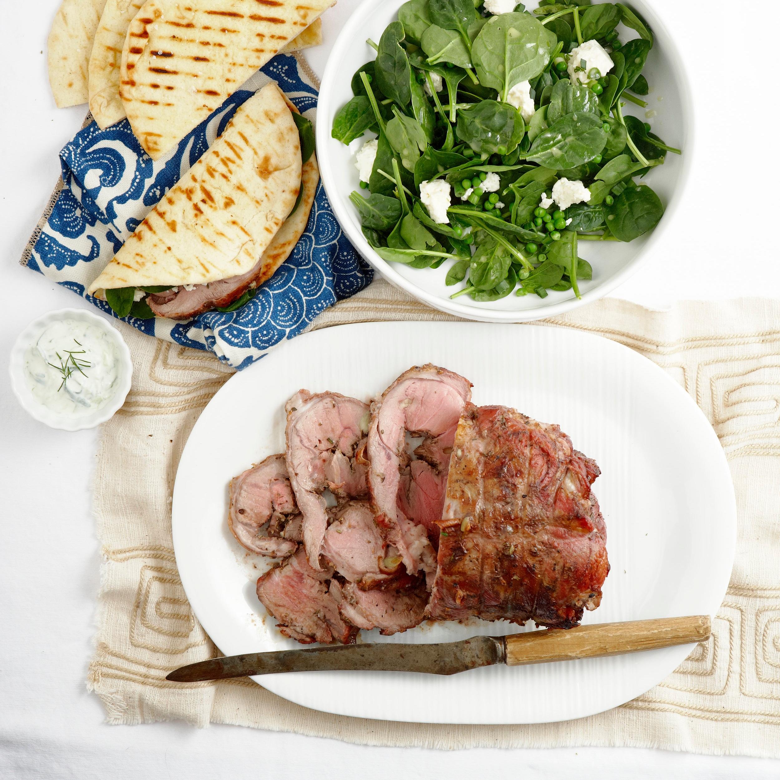 Greek lamb gyros with tzatziki and feta salad