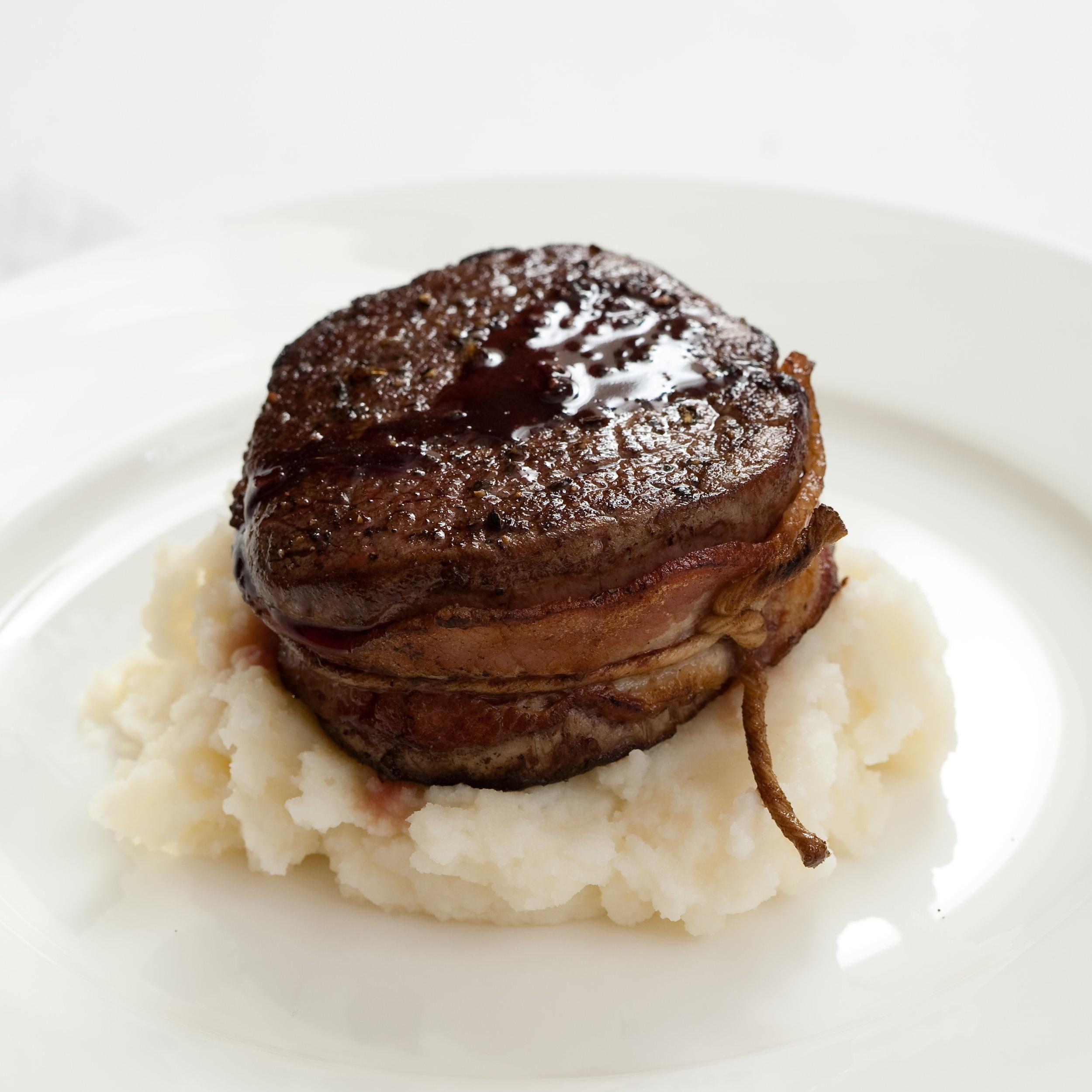 Bacon wrapped beef tenderloin with garlic potato mash.jpg